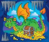 Dragão com imagem de tesouro tema 3 — Vetor de Stock