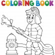 Coloring book firefighter theme 1 — Stock Vector #74224081