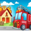 Fire truck theme image 3 — Stock Vector #74224239