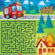 Maze 3 with fire truck theme — Stock Vector #74224631