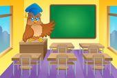 Classroom with owl teacher — Stock Vector