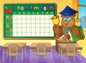 Schule-Zeitplan-Klassenzimmer-Thema 1 — Stockvektor