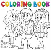 Coloring book with school pupils — Stock Vector