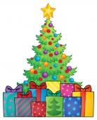 Christmas tree and gifts theme image 1 — Stock Vector