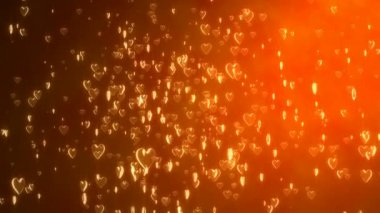 Golden light with floating hearts — Stock Video