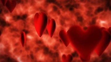 Red hearts flying — ストックビデオ