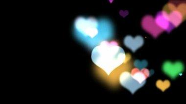 Colorful bokeh hearts — Stock Video