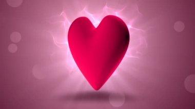 Pink heart rotating — ストックビデオ