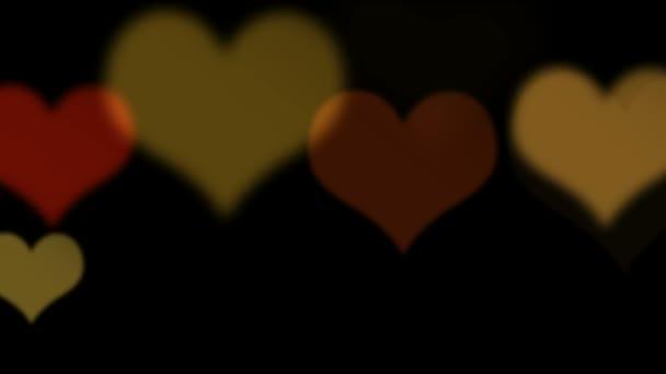Bokeh colorido corazones — Vídeo de stock