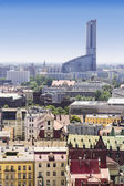 Sights of Poland.  Wroclaw Old Town and the highest skyscrapper in Poland - Sky Tower. — Stock Photo