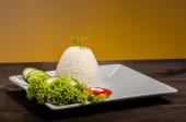 Ryż brązowy płyta — Stockfoto