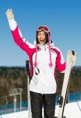 Kadın kayakçı varoluş portresi — Stok fotoğraf