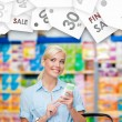 Girl at the market with cosmetics in hands. Seasonal sale — Stock Photo #58636003
