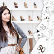Half-length portrait of woman in shopping center. Sale time — Stock Photo #58636635