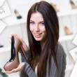 Woman keeping coffee-colored shoe. Christmas sale — Stock Photo #58636711