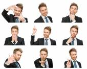 Portrait of businessman with different emotions — Stock Photo