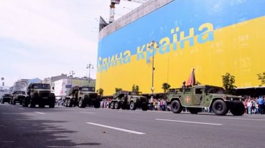 Military parade, Independence Day of Ukraine, Kiev, 2014. — Stock Video