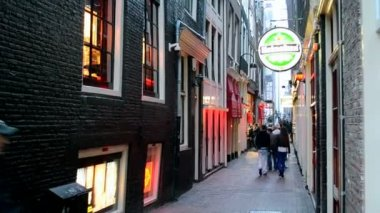 Red Light District in Amsterdam, Netherlands. — Stock Video