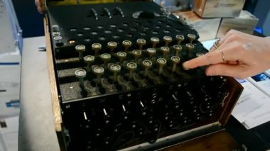 Top secret, vintage Enigma machine under processing, security technology. — 图库视频影像