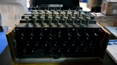 Enigma machine under processing, top secret security technology. — Stock video