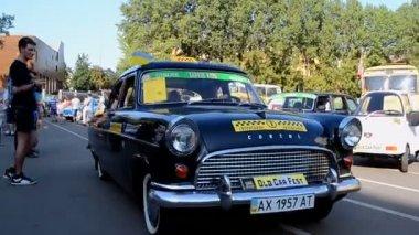 Vintage taxi, Old Car Fest 2014, Kiev, Ukraine. — Stok video