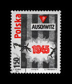 Auschwitz concentration camp, Poland, vintage cancelled stamp. — Stock Photo
