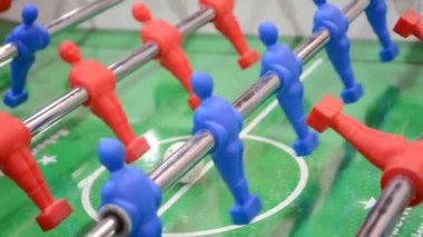 Football game closeup, toy sport field diversity. — Stock Video