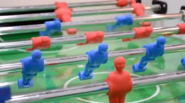 Football game closeup, toy sport field diversity. — Vídeo stock