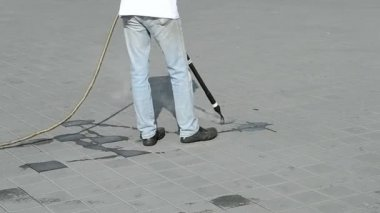 Street cleaning with hot steam, — Stock Video