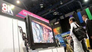 Nhk presenta dei sistema hi-vision 8k durante nab show 2014 a las vegas, usa. — Video Stock