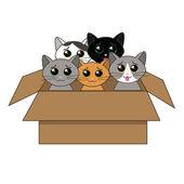 Box of kittens — Stock Vector