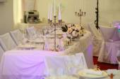 Wedding white table ready for guests — Stock Photo