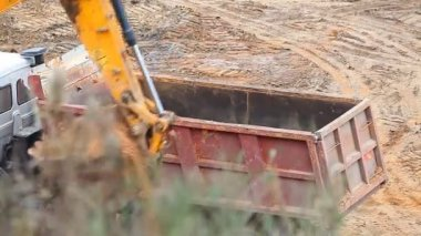 Excavator digging the pit — Stock Video