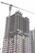 Construction site of apartment building — Stock Photo