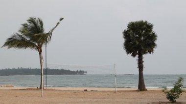 Beach volleyball net — Stock Video