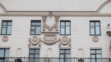 Soviet decoration on building — Stock Video