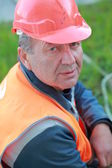 Sewerage worker in hardhat — Stock Photo