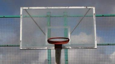 Basketball backboard in the school playground — Stock Video