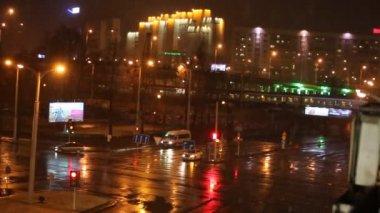 Droga w zimową noc — Wideo stockowe