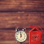 Retro alarm clock and holidays gift — Stock Photo #51926159