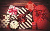 Vintage clock on christmas background — Stock Photo