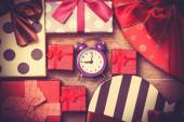 Vintage clock on christmas background — 图库照片