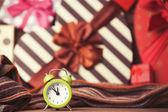 Vintage clock on christmas background — Stock Photo