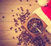 Coffee machine at christmas background — Stock Photo