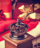 Coffee machine at christmas background — Stock Photo