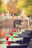Tables with flowers near channel in Delft, Holland — Stock Photo