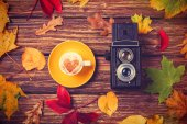 Autumn leafs, camera and coffee cup on wooden table. — Stock Photo