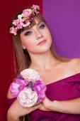 Portrait of brunette women in wreath — Stok fotoğraf