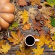 Pumpkin, leafs, chestnuts with cone and cup of coffee on a woode — Stock Photo #57176639