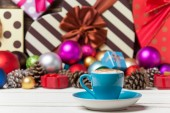 Cup on christmas background. — Stock Photo